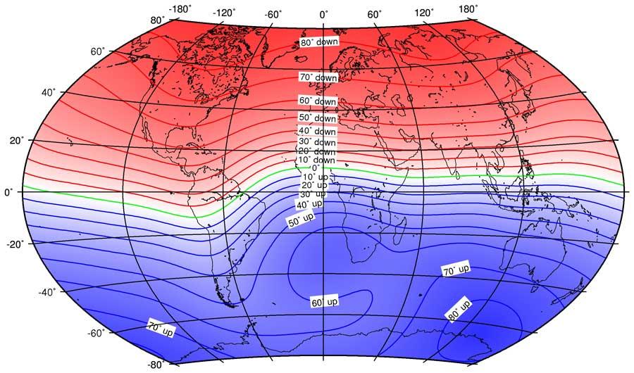 میدان مغناطیسی زمین,ژئومغناطیس,IGRF,مدل میدان مغناطیسی زمین,زاویه میل مغناطیسی