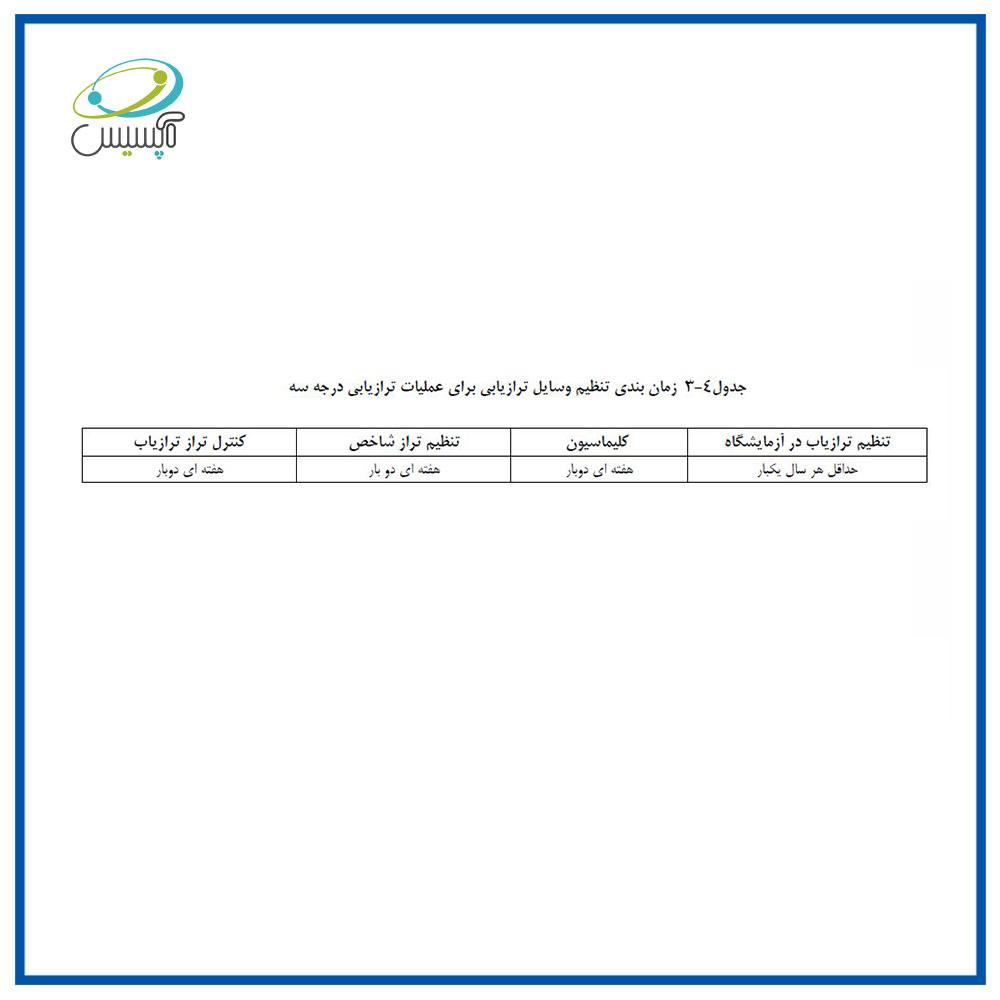 زمان بندی تنظیم وسایل ترازیابی برای عملیات ترازیابی درجه سه