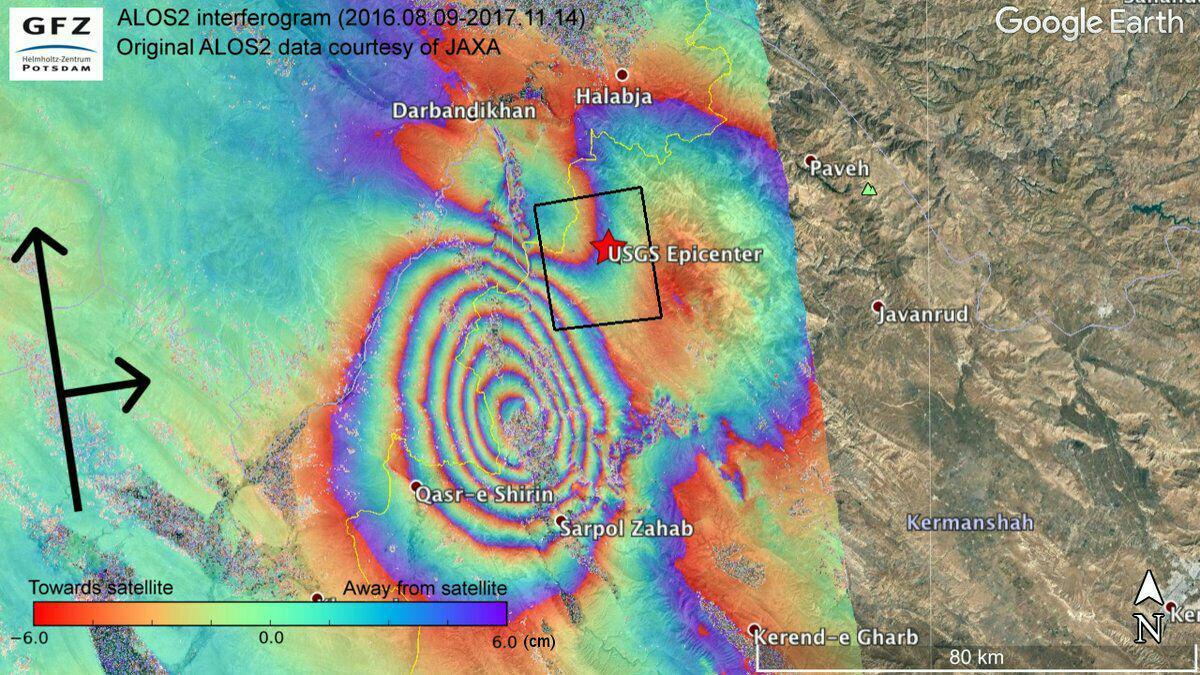 نقشه جابجایی پوسته زمین ناشی از زلزله ۱۲ نوامبر ایران