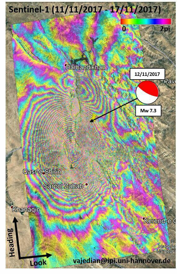 نقشه جابجایی پوسته زمین مربوط به زلزله ۱۲ نوامبر کرمانشاه
