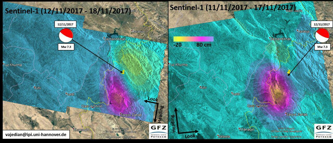 نقشه جابجایی پوسته زمین (به سانتی متر) در اثر زلزله ۱۲ نوامبر کرمانشاه