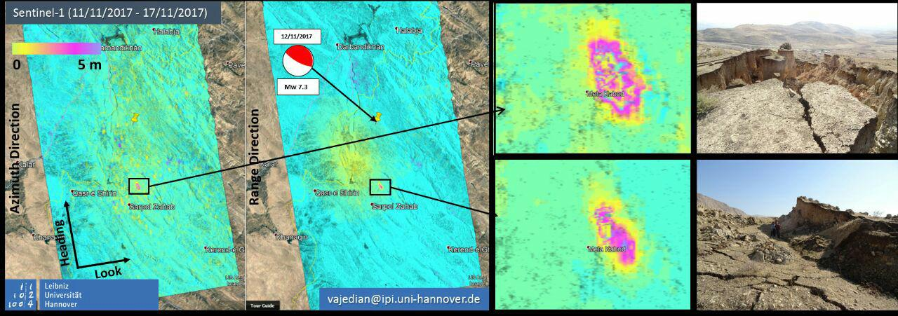 Offset tracking reveals 7 m of slip related to Mela Kabod #Landslide triggered by 12th November 2017 #KurdistanEarthquake #Iran applied on #Sentinel1