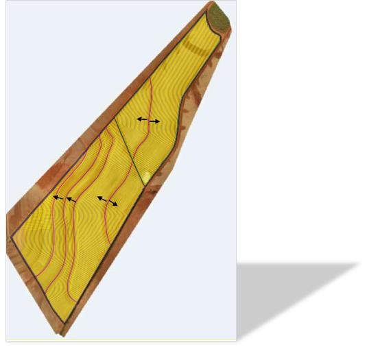 نقشه حاوی منحنی میزان با خطوط کاشت بارگذاری شده در راهبری خودکار John Deere