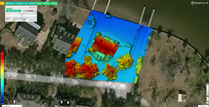 مدل رقومی سطح نشان دهنده ارتفاع نسبی سطح، تهیه شده با DroneDeploy