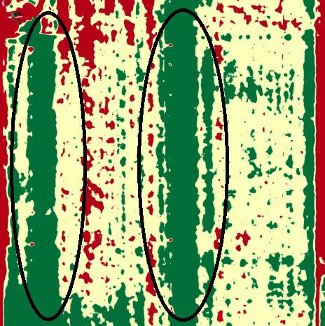 نواحی سبز رنگ روی نقشه جایی است که خطوط آبیاری قطره ای فعال بوده و شته ها خود از آب پنهان می کنند.