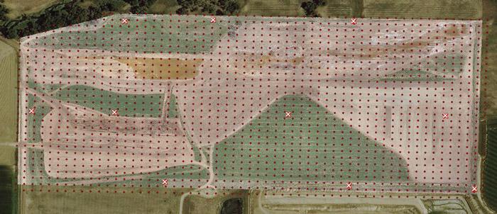 ۱۰ تارگت GCP در مقابل ۱۶۳۲ نقطه نقشه برداری شده