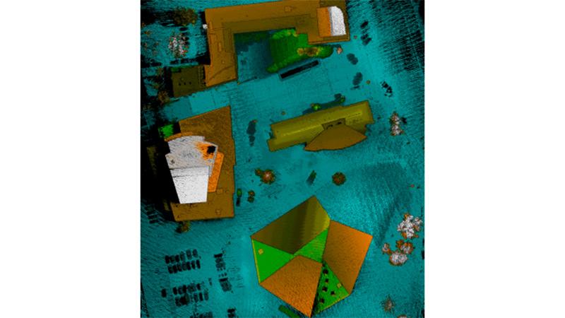 نمای شهری معماری نقشه برداری شده با یک اسکنر لیزری Velodyne LiDAR Puck سوار شده روی یک پهپاد کوچک