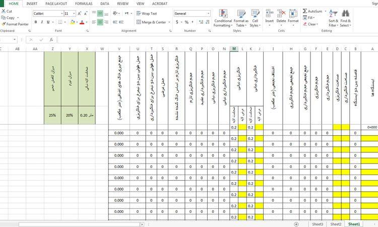 جدول خاکبرداری و خاکریزی مربوط به راهسازی (جدول 20 ستونی)
