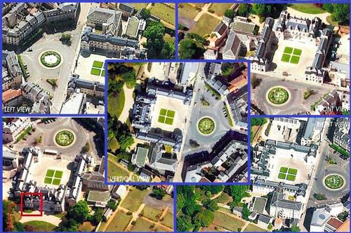 تصاویر مایل (فاصله نمونه برداری زمینی = 15 سانتیمتر) و قائم (فاصله نمونه برداری زمینی = 12 سانتیمتر) از شهر پورتوی فرانسه، تهیه شده توسط دوربین Dimac در یک زمان